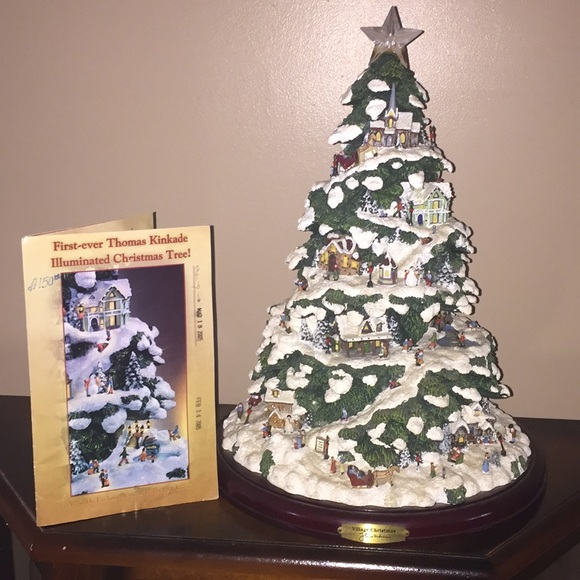 Thomas Kinkade Illuminated Village Christmas Tree